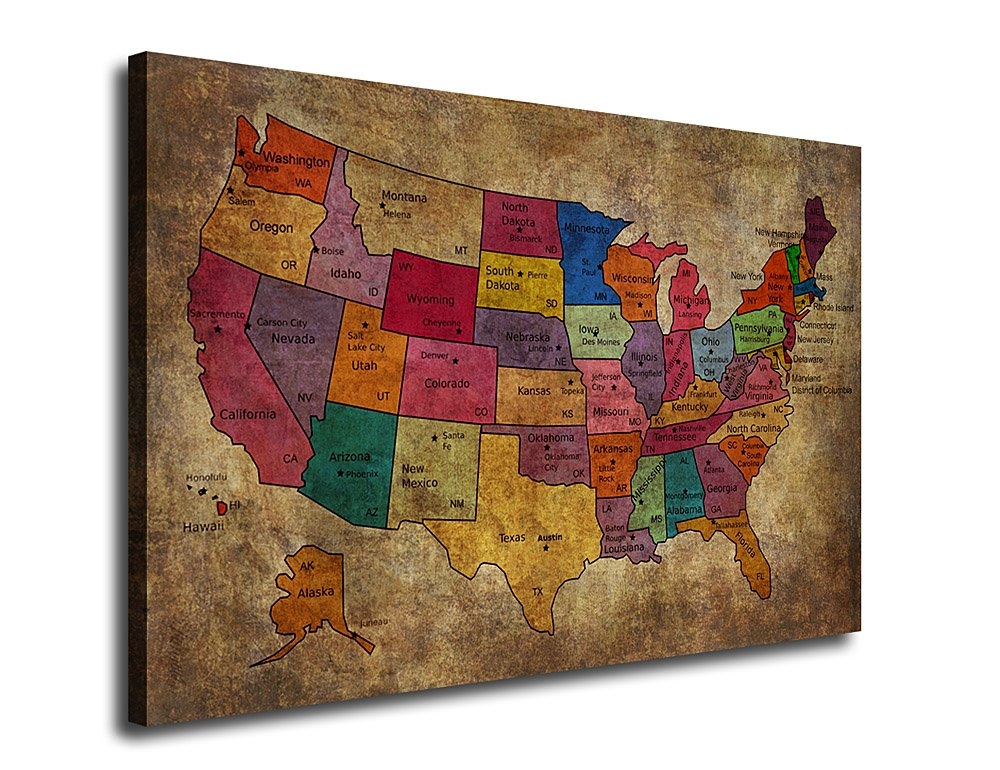 Canvas Wall Art Art US Map Painting Artwork for Office Home Wall Decor 24'' x 36'', Vintage Map United States of America Pictures Art Framed Ready to Hang for Living Room Bedroom Decoration