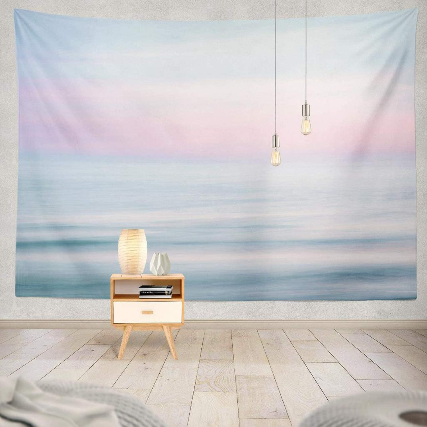 Ocean Tapestry,ONELZ The Beach Tapestry Sunset Sky and Blue Tapestry Ocean Nature with Beach Pink Tapestries Pastel Tapestry Wall Tapestry for Bedroom 60 L x 80 W,Pink Sunset