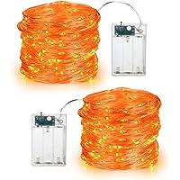 BrizLabs Orange Halloween Lights, 19.47ft 60 LED Orange Fairy Lights String, 2 Modes Battery Halloween String Lights…