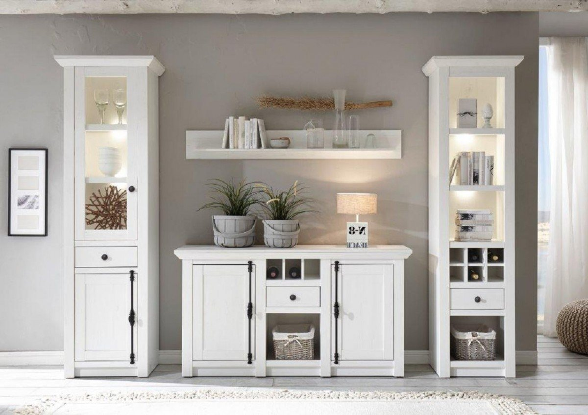 dreams4home wohnwand 39 tinnum i 39 set regalschrank vitrine sideboard wandregal medienwand. Black Bedroom Furniture Sets. Home Design Ideas