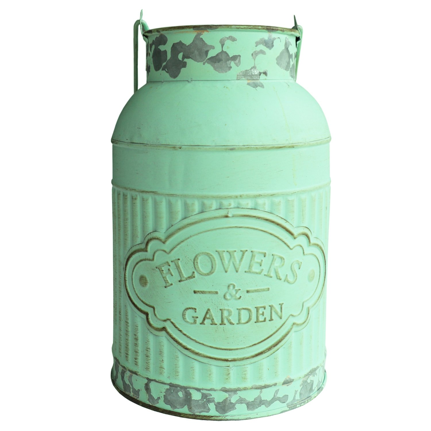 HyFanStr Shabby Chic Green Painted Milk Can Style Metal Vase Flower Pitcher Jug Pot by HyFanStr (Image #2)