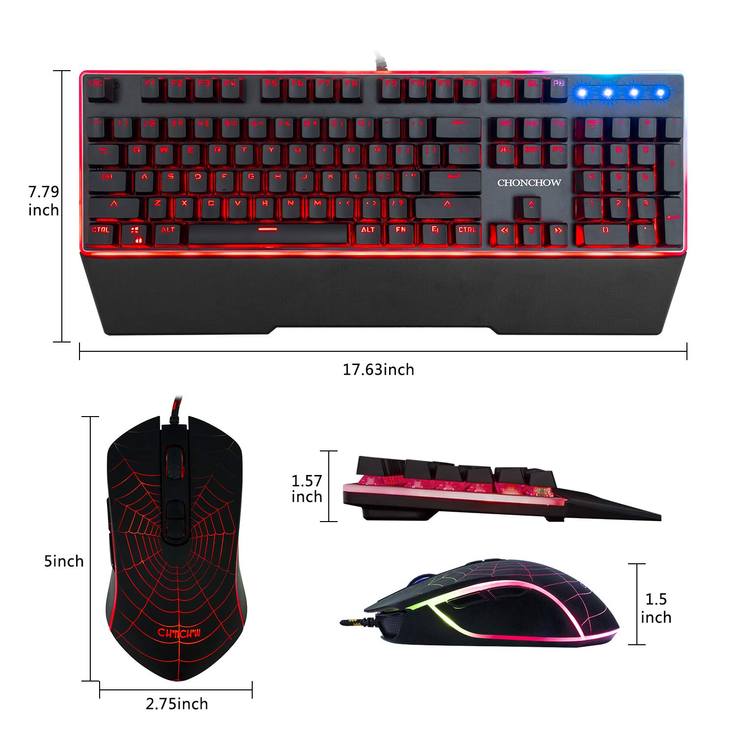 Mechanical Feeling Gaming Keyboard and Mouse Combo RGB Rainbow LED Backlit Wired USB Teclado Keyboard with 7 Button 4800DPI Programmable Gaming Mouse Compatible with Windows Ps4 Mac Xbox Gamer Black