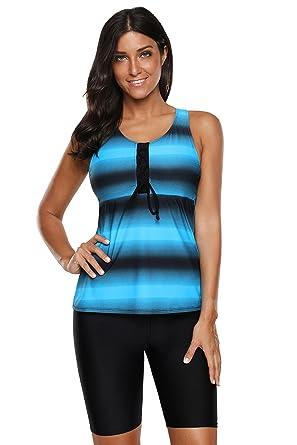 6c9f8d215a1298 VINKKE Womens Plus Size Racerback Tankini Top and Capri Swim Bottoms Surfing  Swimsuit S - XXXL at Amazon Women s Clothing store