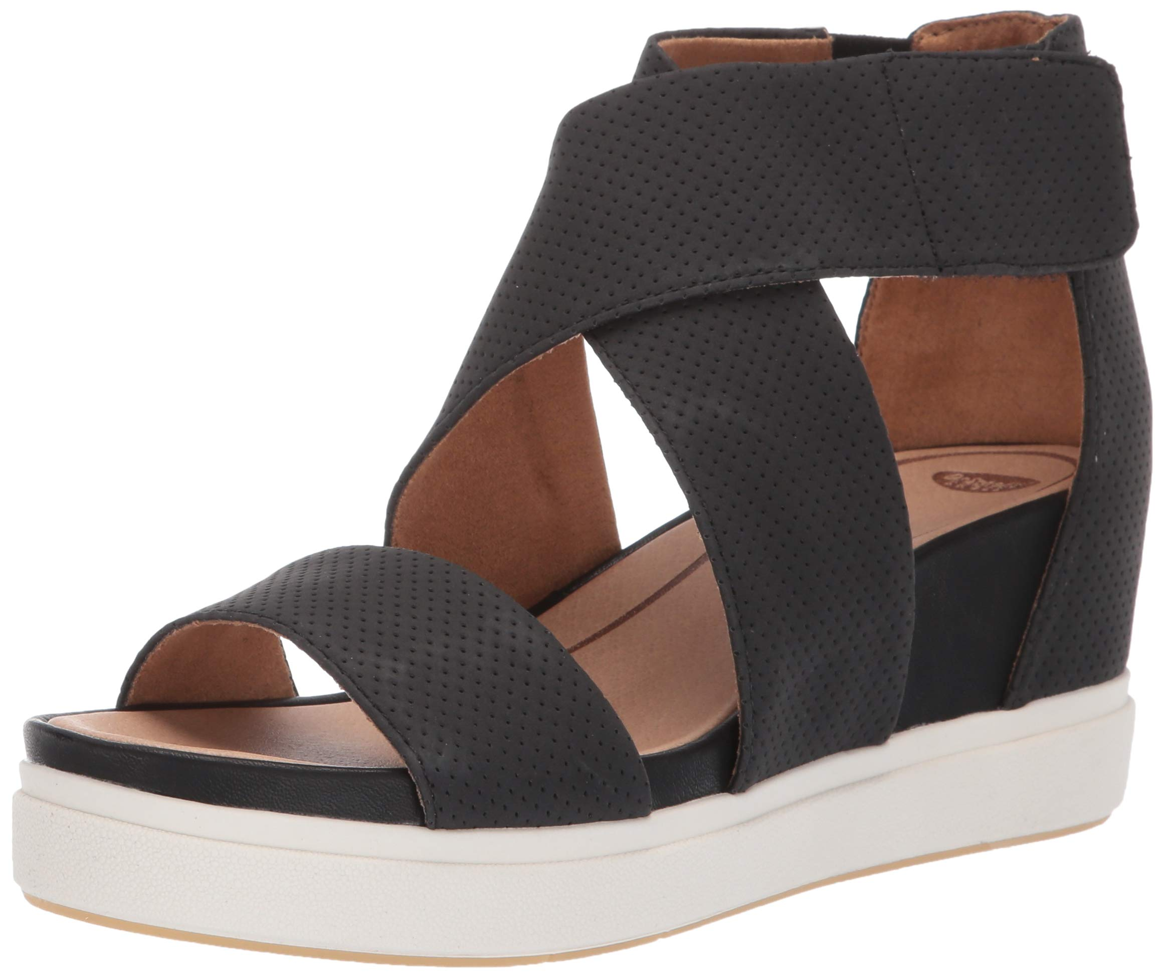 Dr. Scholl's Women's Sheena Wedge Sandal Black Smooth Perforated 8 M US by Dr. Scholl's