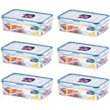 (Pack of 6) LOCK & LOCK Airtight Rectangular Food Storage Container 33.81-oz/4.23-cup