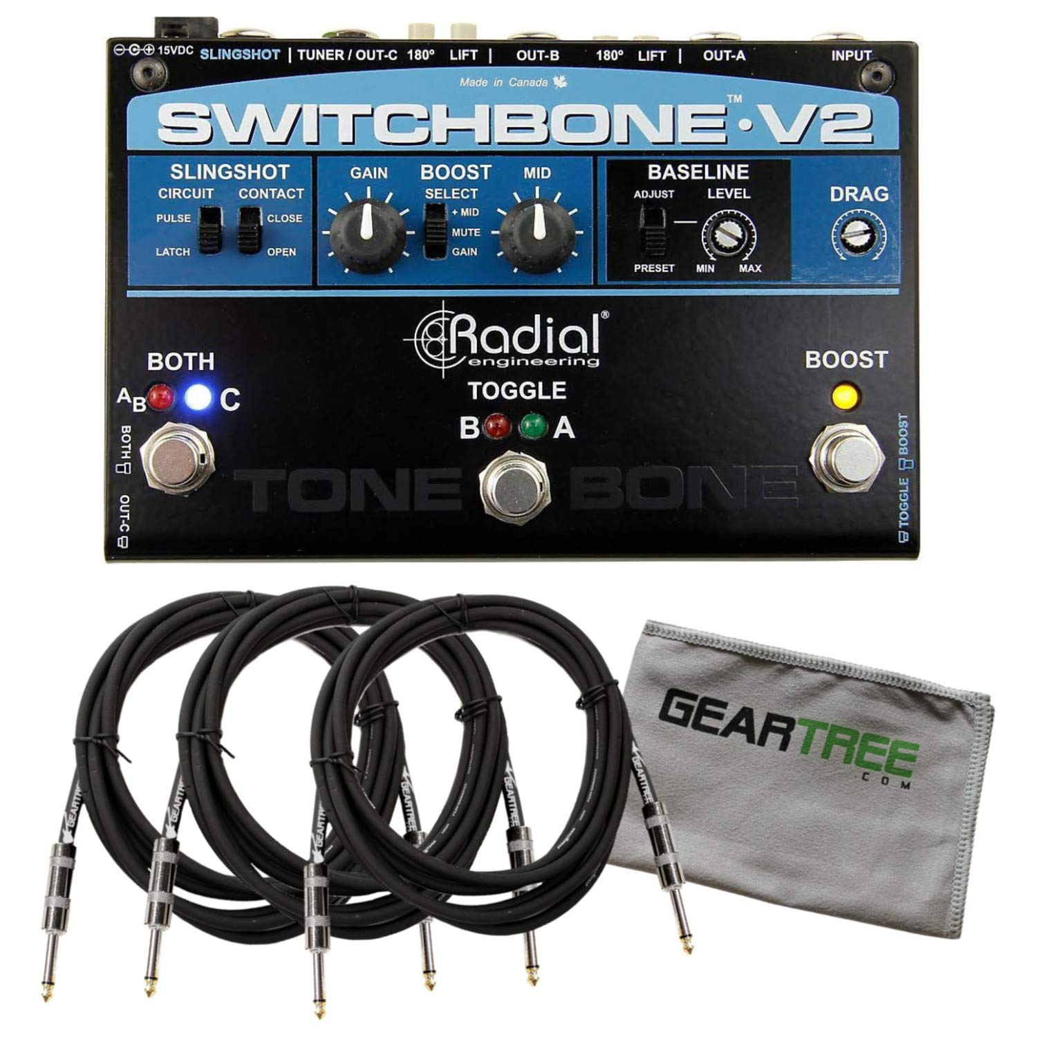 Radial Switchbone V2 ABY/C Switcher with LEDs, Boost, and Tuner Out w/Geartree 4334434728