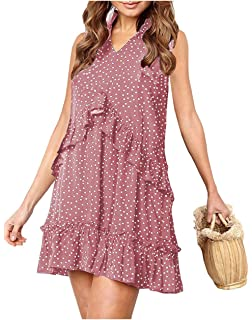 42feeb140e7 onlypuff Ruffle Polka Dot Dresses for Women Swing Tunic Tops Casual Loose  Fitting V Neck Sleeveless