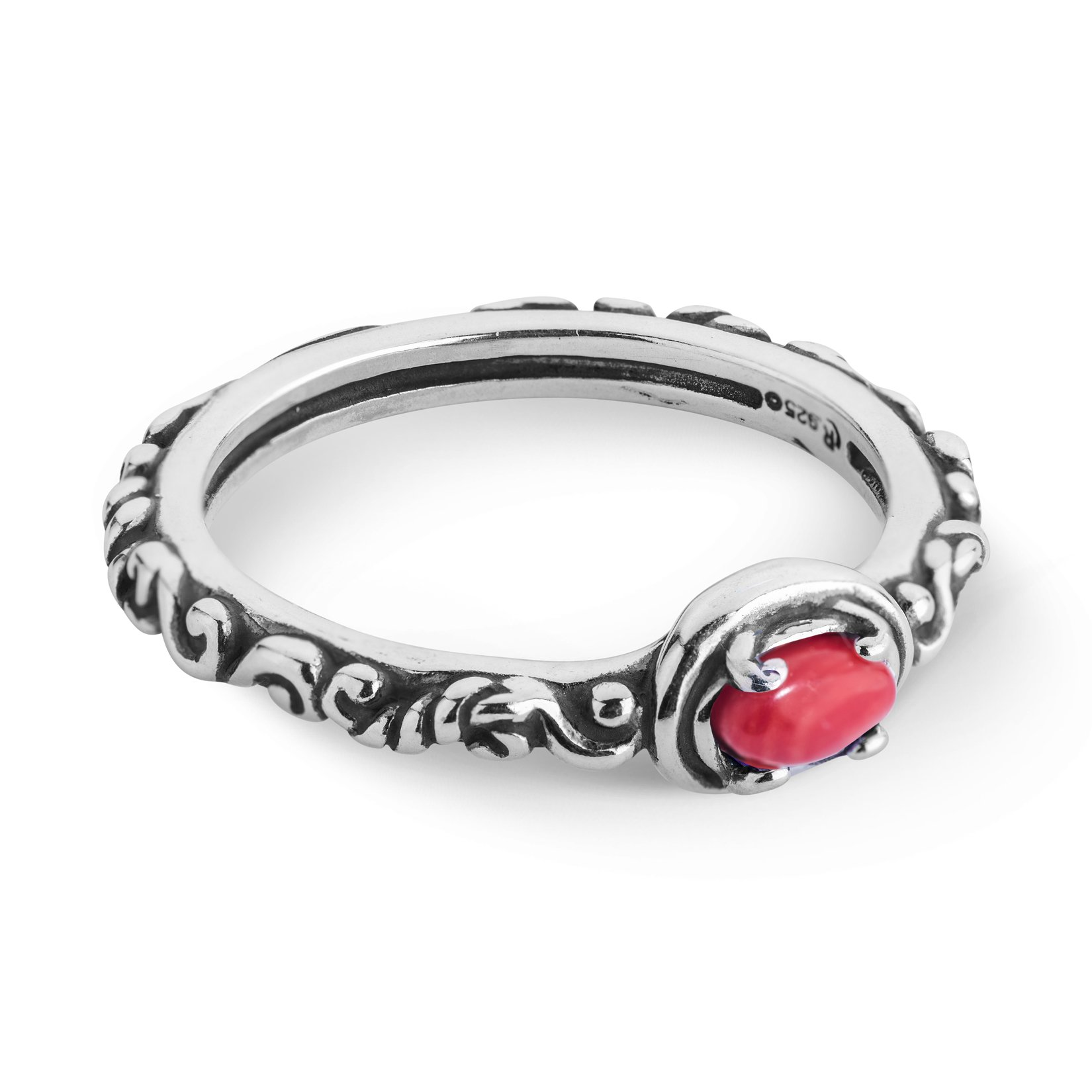 Simply Fabulous Sterling Silver & Red Coral Band Ring- Size 6 - Simply Fabulous Collection