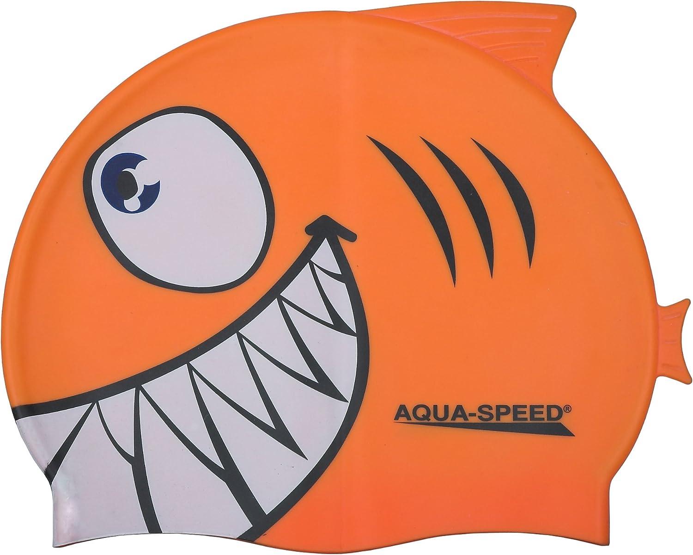 Tibur/ón Aqua Speed 100/% Silicona SHARK Ni/ños Gorro de ba/ño
