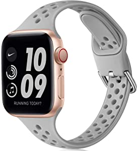 Henva Slim Breathable Band Compatible with Apple Watch SE 38mm 40mm for Women Girls, Soft Silicone Narrow Sport Band Compatible with iWatch Series 6 5 4 3 2 1, Slate Gray