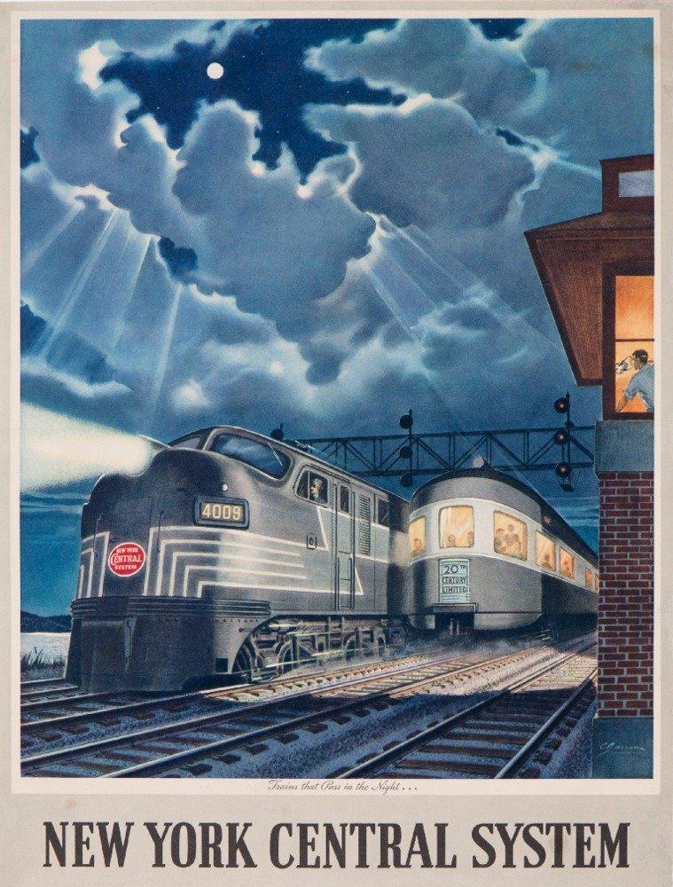 新しいYork Central System – Trains That Pass in the Night Vintageポスター(アーティスト: Gascon ) C。1948 24 x 36 Giclee Print LANT-58699-24x36 B017ZKU0AC  24 x 36 Giclee Print