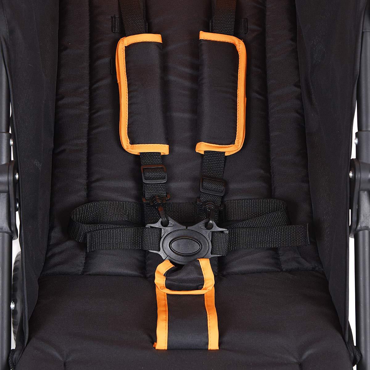 INFANS Lightweight Baby Umbrella Stroller, Foldable Infant Travel Stroller with 4 Position Recline, Adjustable Backrest, Cup Holder, Storage Basket, UV Protection Canopy, Carry Belt (Orange) by INFANS (Image #9)
