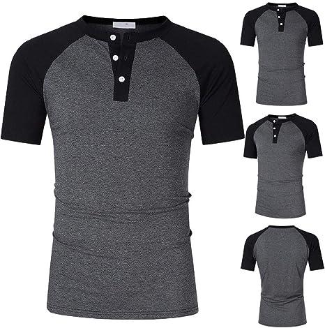 GreatFun Camisa de Moda para Hombre Botones de Remiendo de Verano Camiseta de Manga Corta Camisas con Botones Top Blusa Top Camisas con Cuello de Solapa Blusas Manga Corta Camisas Delgadas: Amazon.es: