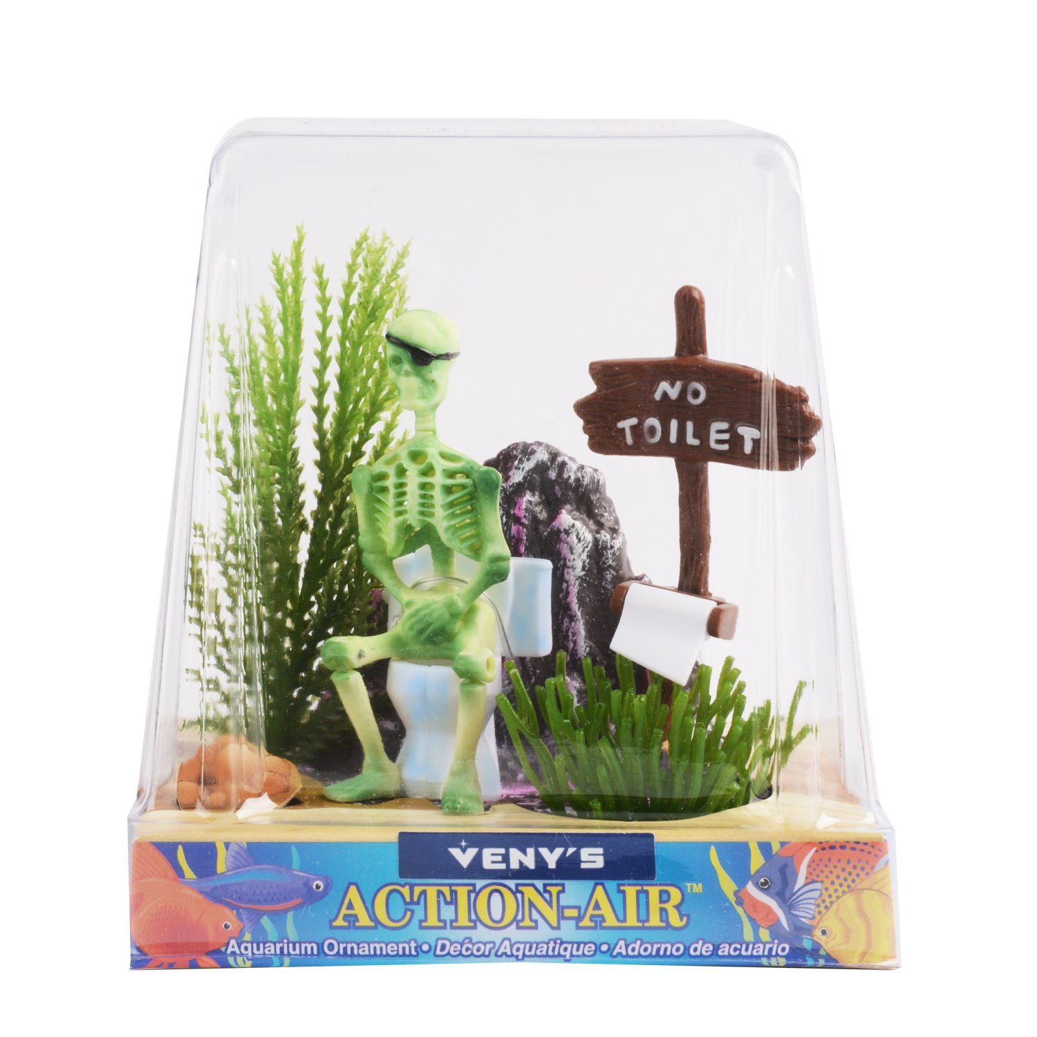 Amazon.com : Aquarium Ornament Saim Pirate Skeletons on Toilet Live Action (Light Blue) : Pet Supplies