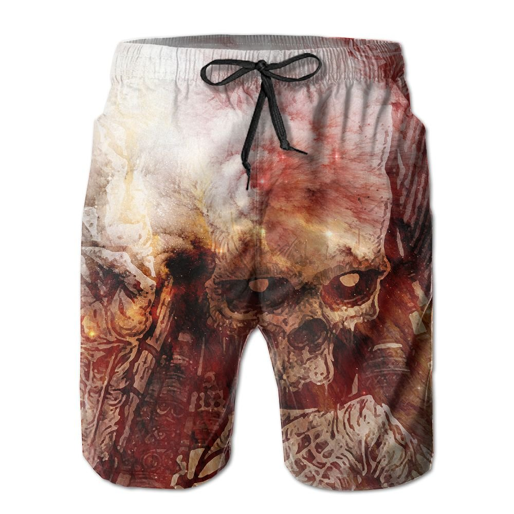 LAIUE Mans Skull Volcano Summer 3D Printed Quick-Dry Lightweight Tropical Beach Shorts