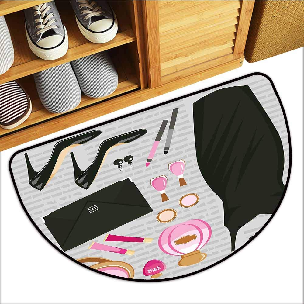 TableCovers&Home Entrance Door Mat, Heels and Dresses Decorative Rugs for Kitchen, Black Smart Cocktail Dress Perfume Make Up Clutch Bag (Black Light Pink Light Brown, H20 x D32 Semicircle)