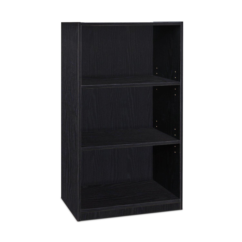 Furinno Jaya Simple Home 3-Shelf Bookcase, Black