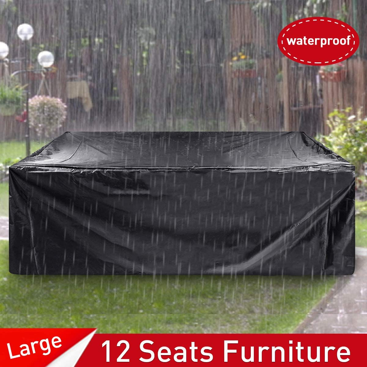 ESSORT Patio Furniture Covers, Extra Large Outdoor Furniture Set Covers Waterproof, Rain Snow Dust Wind-Proof, Anti-UV, Fits for 12 Seats 124 x63 x29 210D