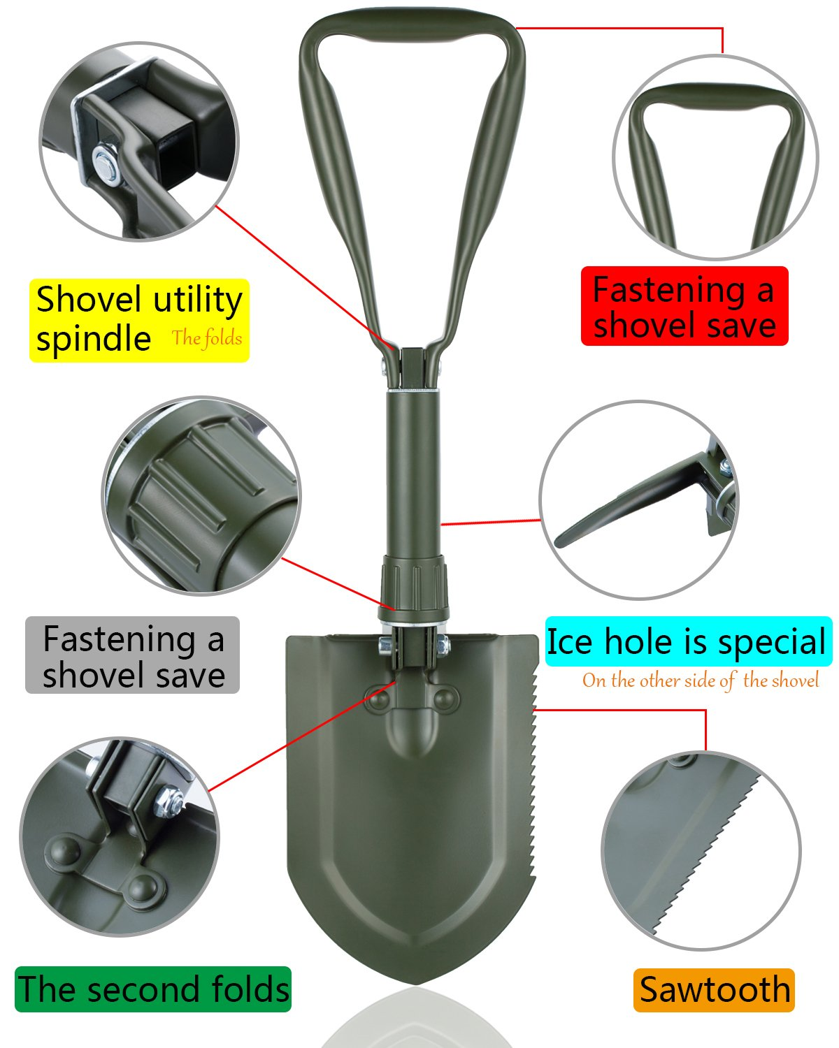Songwin Military Portable Folding Shovel,Compact Camping Gear for Car,Gardening,Snow Shovel with Carry Pouch.