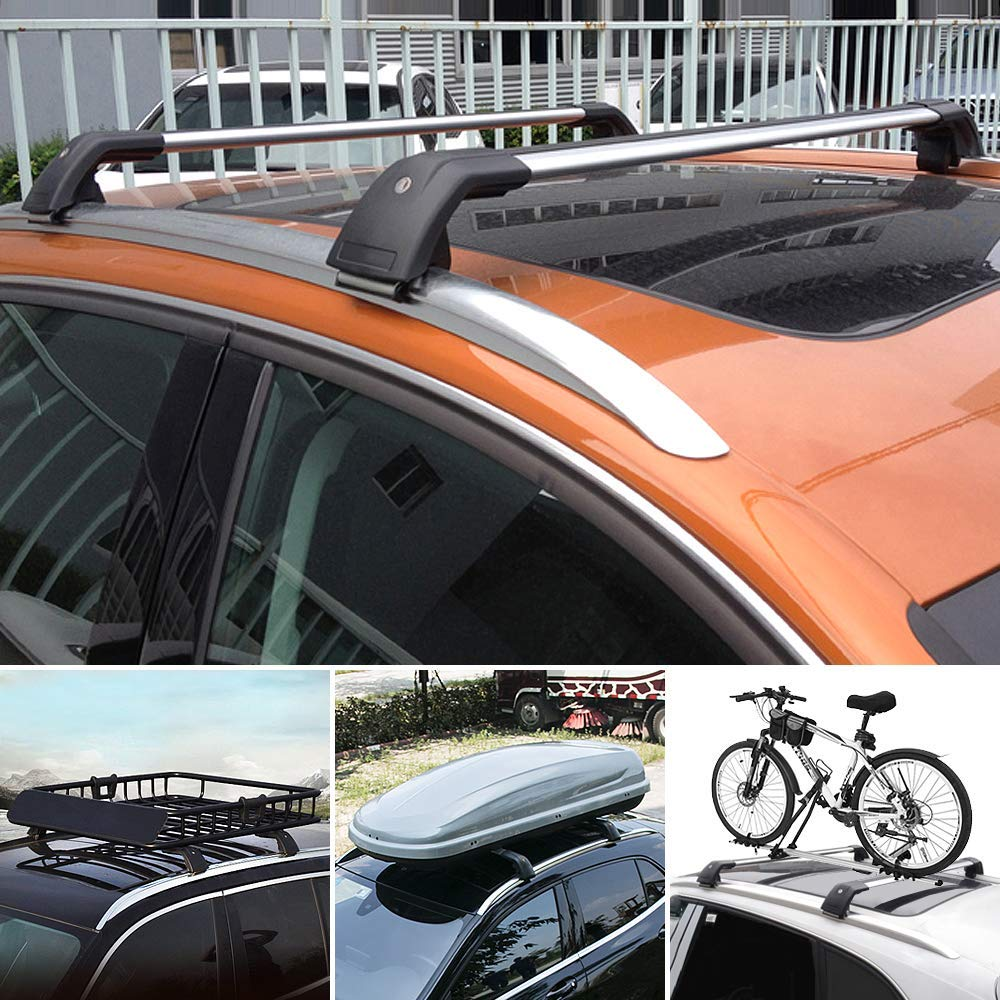 MotorFansClub 2-Piece 43 Roof Rack Rail Luggage Rack Cargo Bars Silver Aluminum Crossbars for Volkswagen VW Tiguan 2010-2016
