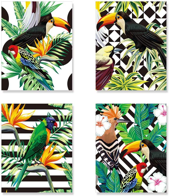 Bird Art Prints, Tropical Bird and Tropical Plant Wall Art Set of 4 Unframed 8x10 inches