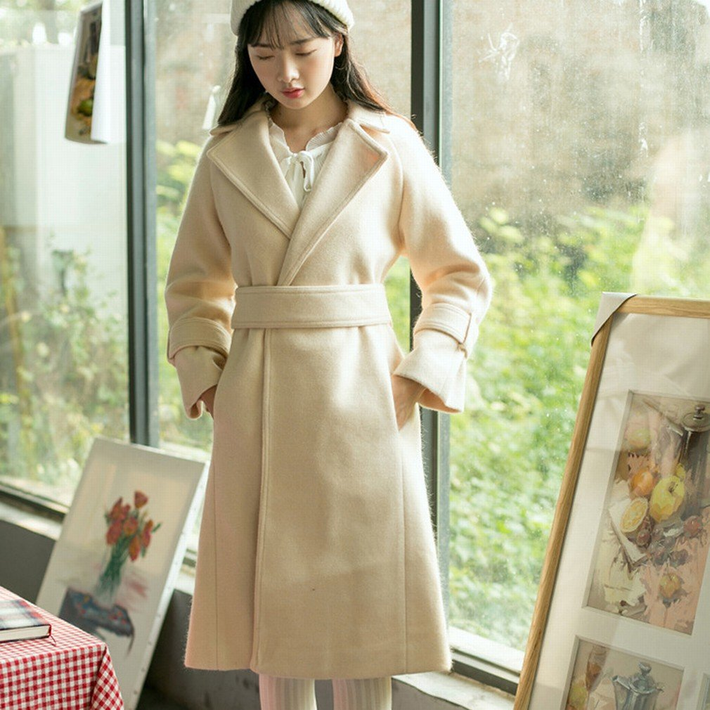 Beige BTTB Winter Small Fresh and Pure color Slim Long Belt Long Sleeves Jacket Female