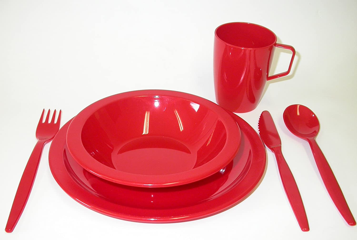 Harfield Polycarbonate Camping Tableware Set - Red by Harfield B0087ZUVSQ