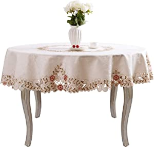 Pink Flower Embroidered hemstitch Cream Spring Round tablecloths 58 inch Approx