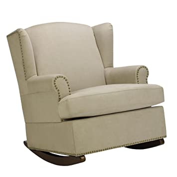 Charmant Baby Relax Harlow Wingback Nursery Room Rocker With Nail Heads, Beige