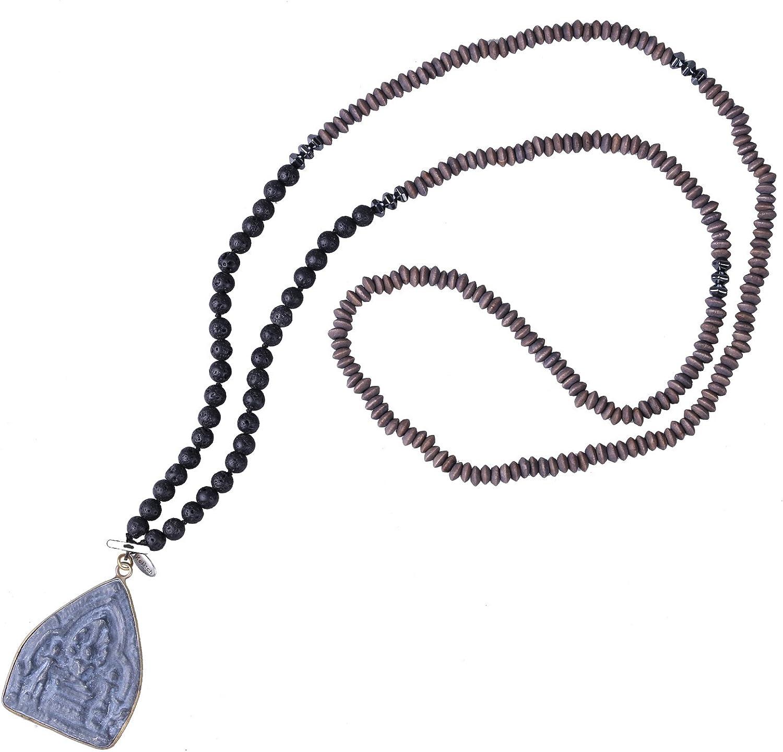 KELITCH Collar Artesanal de Cuentas de Lava de Piedra con Colgante de Buda Tailandia