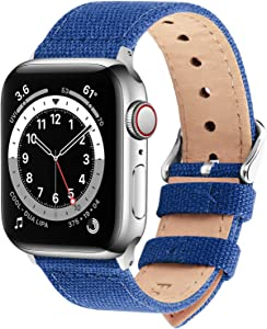 Fullmosa Compatible Apple Watch Band 44mm 42mm 40mm 38mm, 8 Colors Canvas Style for iWatch Strap Compatible with Apple Watch Series 4/5/6/SE (44mm) Series 3/2/1 (42mm),44mm 42mm Sapphire Blue