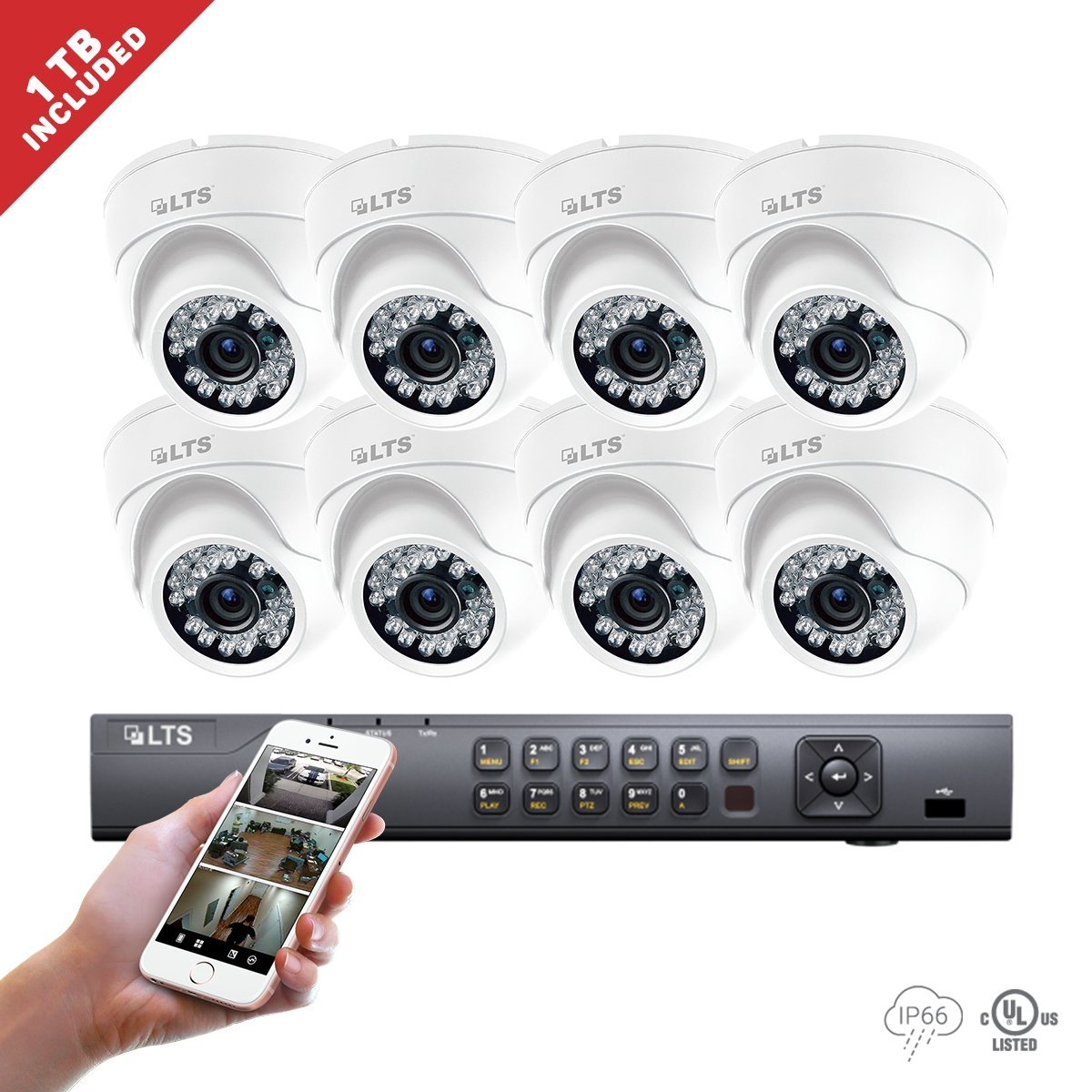 8 Channel LTS DVR 8 * Platinum HD-TVI Turret Camera 2.1MP 2.8 mm 1080P HD Fixed lens IR Indoor Outdoor Turret Camera 1TB HDD Package