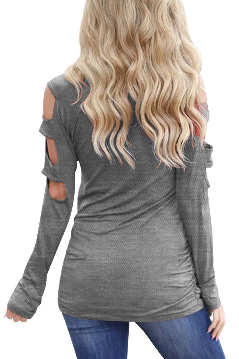 Eanklosco Women's Long Sleeve V Neck Cold Shoulder Cut Out T Shirts Casual Tunic Tops (XL, Grey)