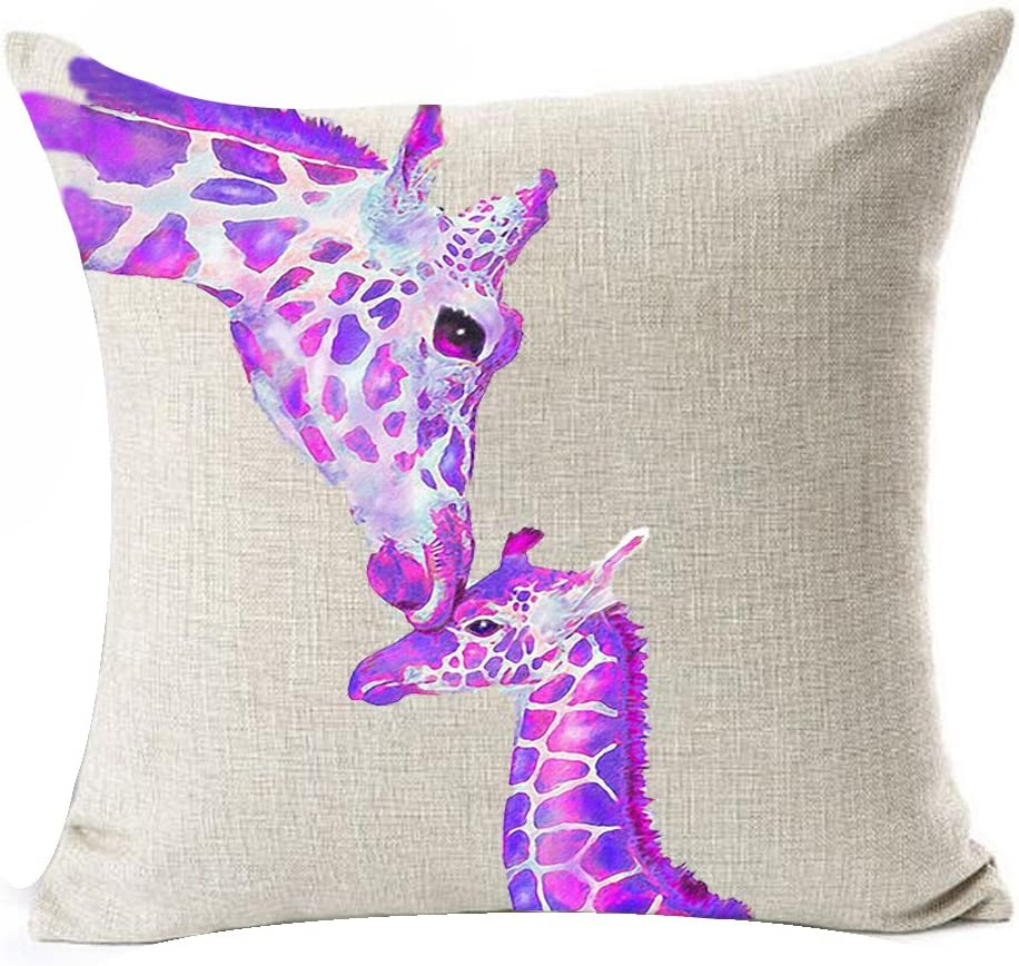 Queen's designer Creative Warm Purple Violet Ink Giraffe And Its Mother Cotton Linen Decorative Throw Pillow Case Cushion Cover Square 18