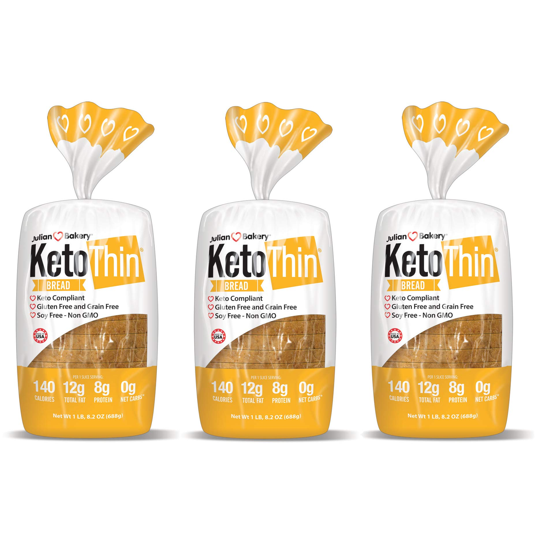 Keto Thin®   Bread   1 Carb   Gluten-Free   Grain-Free   (0 Net Carbs)   100% Keto   (3 Pack) by Julian Bakery