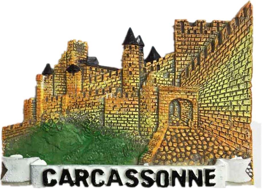 MUYU Magnet 3D Carcassonne Castle France Imán para Nevera, Recuerdo de París, Decoración de hogar y Cocina, Castillo de Carcassonne e Imán para Nevera de Francia: Amazon.es: Hogar