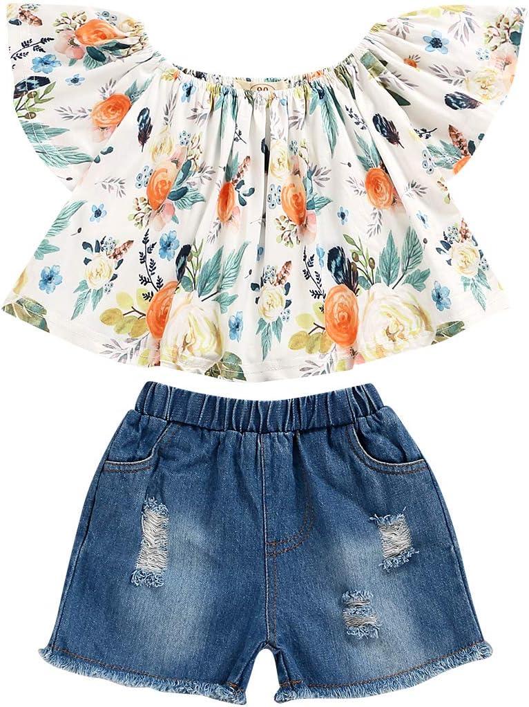 ملابس الصيف للأطفال الرضع الرضع من بيليسون ملابس ذات أكمام مكشكشة مع مجموعة ملابس حزام زهرة