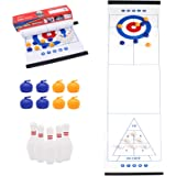 PETUOL 3 in 1 Tabletop Curling Game, Curling, Bowling, Shuffleboard Game with 6 Bowling Balls and 8 Rollers, Great for…