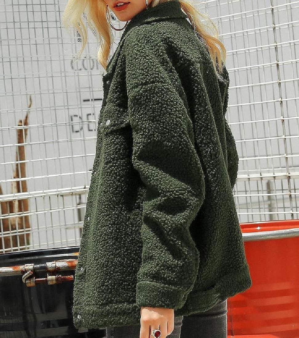 5e9125474 Amazon.com: YUNY Womens Fleece Fluffy Warm Thicken Bomber Jacket ...