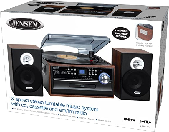 Amazon.com: Jensen jta475b 3 velocidades Tocadiscos con CD ...