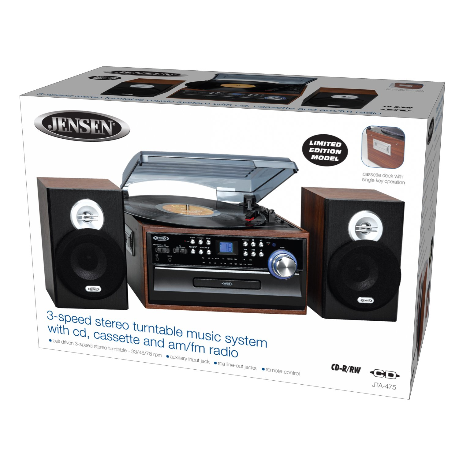 Great Amazon.com: Jensen 3 Speed Turntable Music System Limited Edition JTA475W  LCD Display With Front Loading CD Player , AM/FM Stereo Radio, Cassette  Player ...