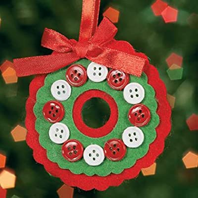 Felt Button Wreath Ornament Craft Kit - Crafts for Kids and Fun Home Activities: Toys & Games