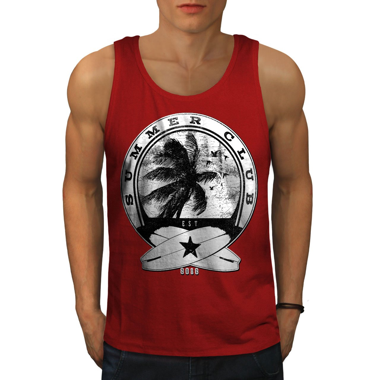 Wellcoda Summer Surf Waves USA Mens Tank Top, Palm Fit Lifestyle Sports Shirt
