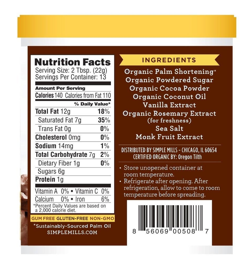 Simple Mills Organic Chocolate Frosting - 10 oz - Pack of 2
