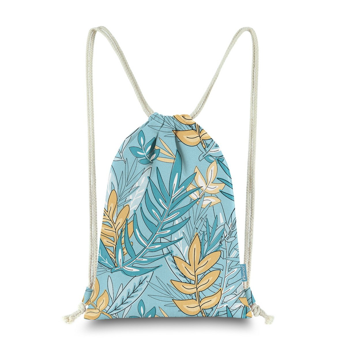 Miomao Drawstring Backpack Bag Gym Sackpack Graffiti Leaves Style String Bag Sinch Sack Sport Cinch Pack, Canal Blue