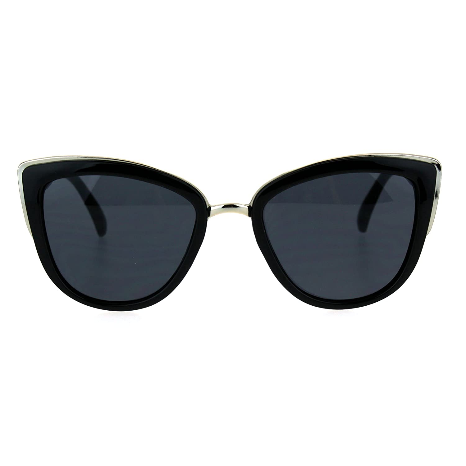 37f203882b8 Amazon.com  SA106 Runway Fashion Metal Bridge Trim Oversized Cat Eye  Sunglasses All Black  Clothing