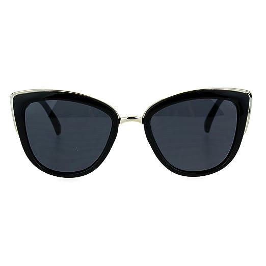 f04020a635a SA106 Runway Fashion Metal Bridge Trim Oversized Cat Eye Sunglasses All  Black