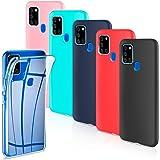 Leathlux 6 x Funda Samsung Galaxy A21s, 6 Unidades Carcasas Juntas Ultra Fina Silicona TPU Flexible Colores Carcasas Samsung Galaxy A21s - Transparente Rosa Verte Azul Rojo Negro