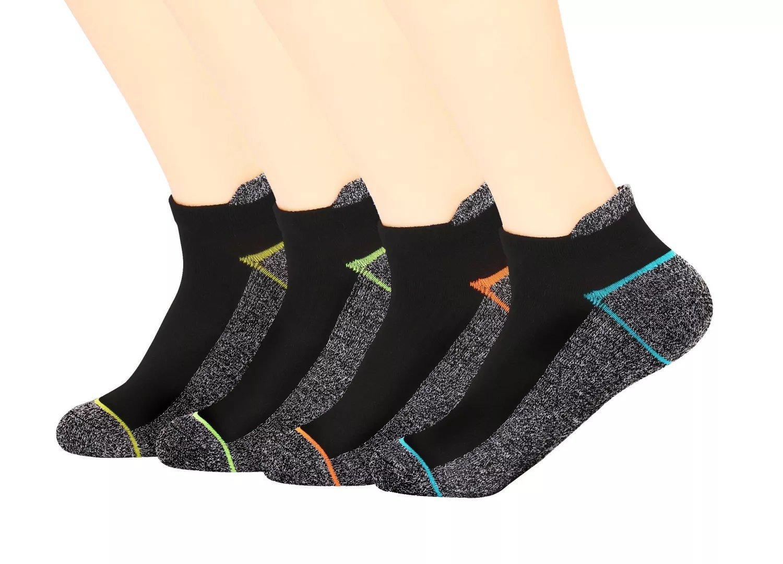 Kodal Copper Antibacterial Athletic Socks for Men and Women-Moisture Wicking, Nonslip Ankle Socks 4 Pack(Multicolor, Medium)