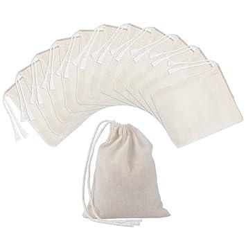 Amazon.com: Pangda 100 bolsas de muselina de algodón con ...